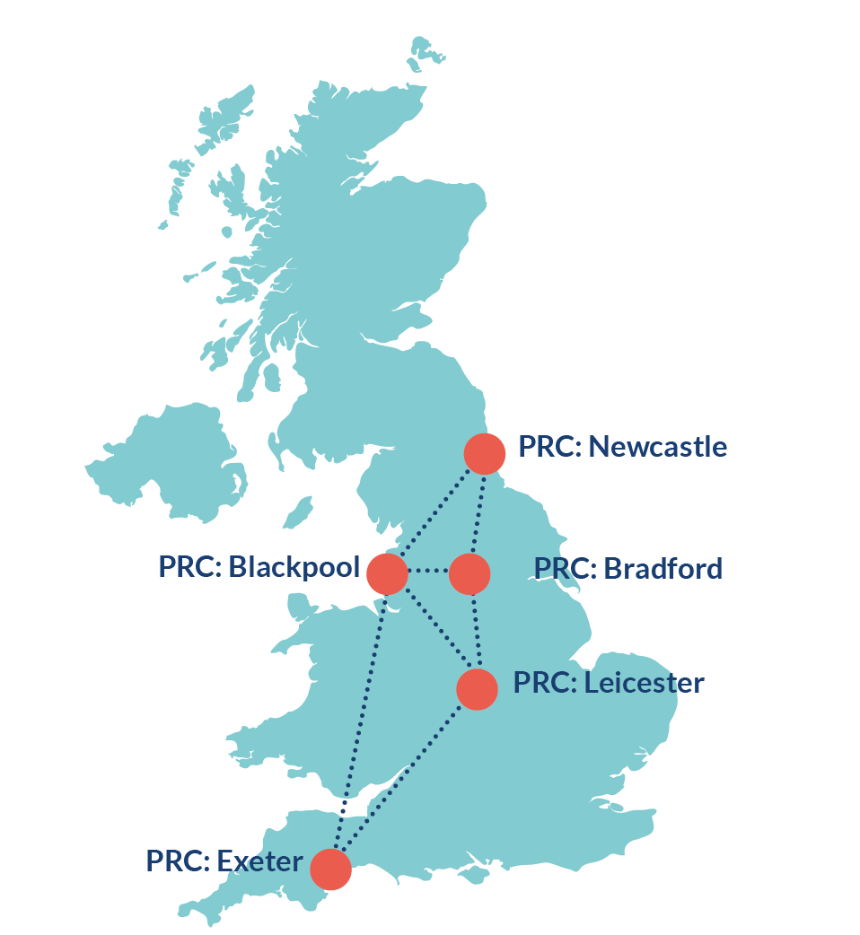 Map of the UK with the location of each of the five PRCs marked - Blackpool, Bradford, Exeter, Leicester and Newcastle