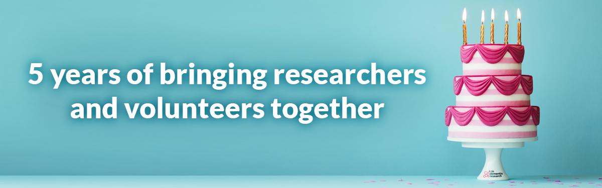 Join Dementia Research birthday cake: 5 years of bringing researchers and volunteers together