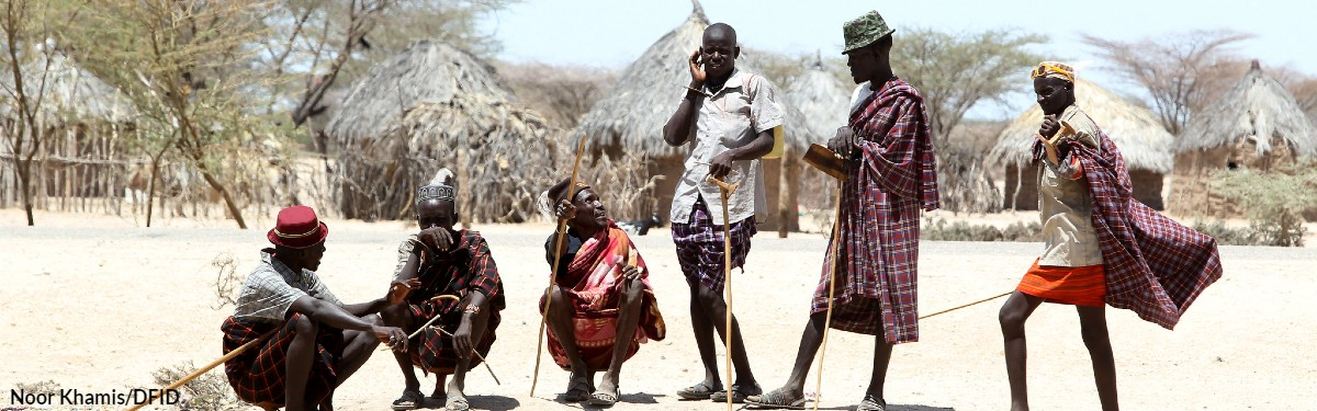 Men gather in Turkana in northern Kenya